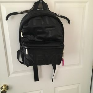New Betsey Johnson Black Logo Backpack